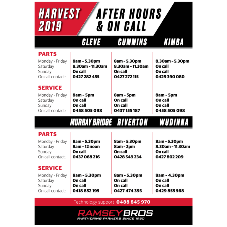 HARVEST 2019 - AFTER HOURS & ON CALL