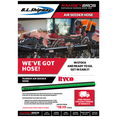 Air Seeder Hose… in Stock & Ready to go, get in Early!